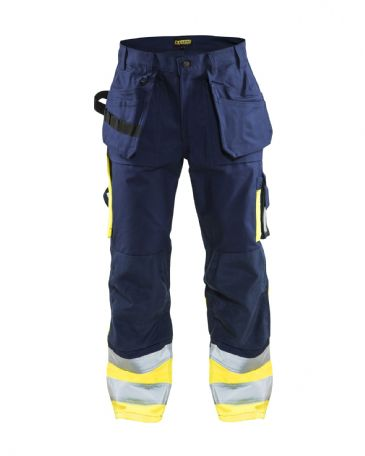 Blaklader 1529 High Visibility Trousers 100% Cotton Twill (Navy Blue/Yellow)